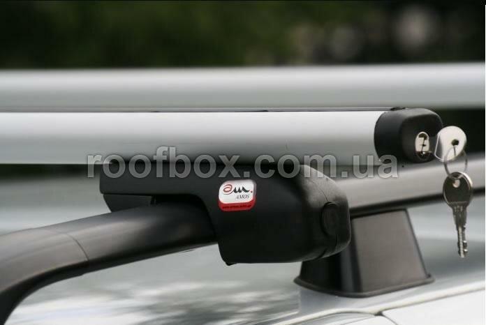 Фото - Автобагажник на крышу Amos алюминиевый с аэродинамическим профилем под рейлинг